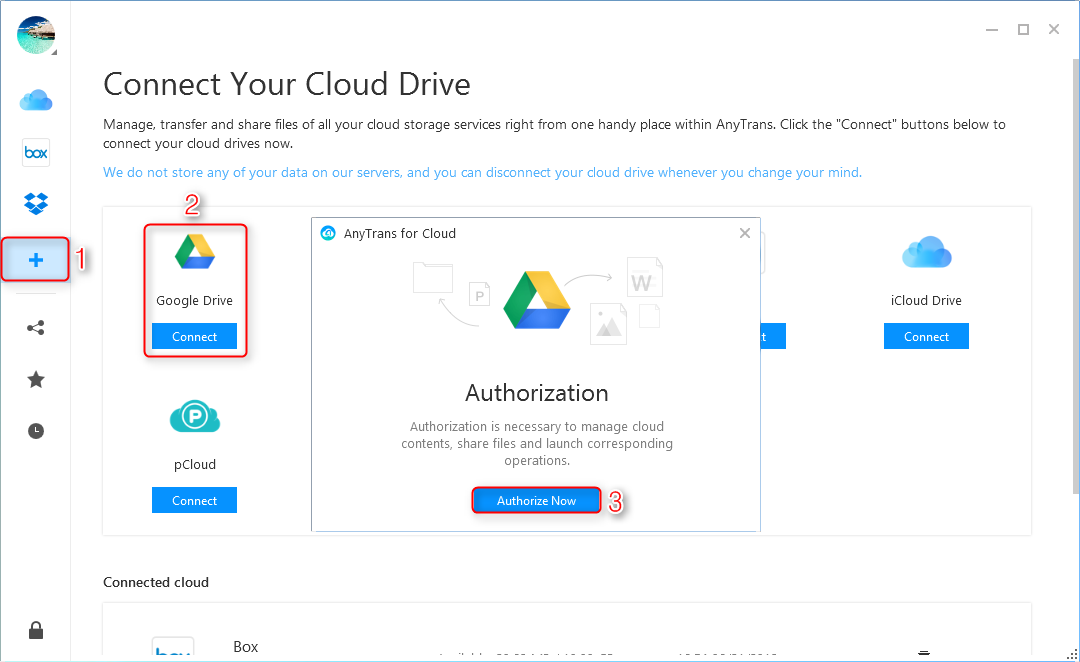 Fix Google Drive Network Error with AnyTrans for Cloud - Step 2