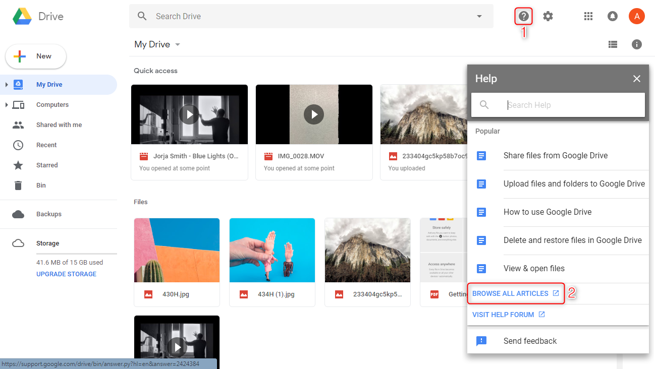 Google Drive Recover Deleted Files via Google Drive Support - Step 1
