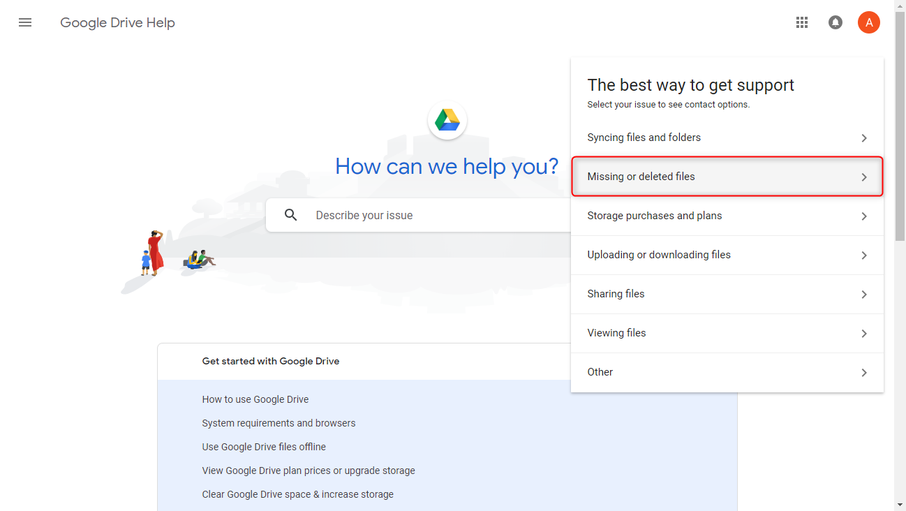 Google Drive Recover Deleted Files via Google Drive Support - Step 2