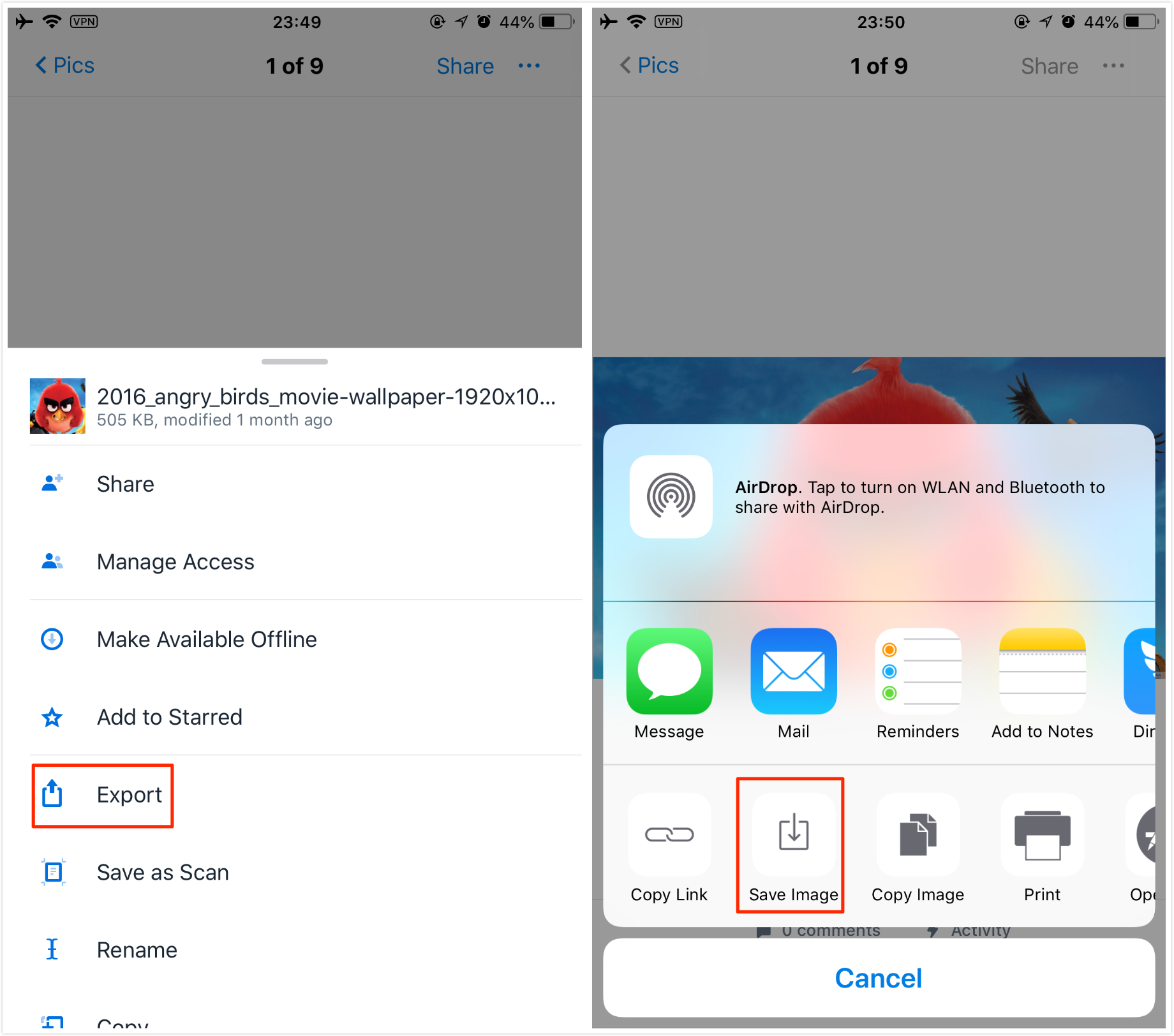 How to Download Photos from Dropbox to iPhone/iPad via Dropbox Mobile App – Step 3