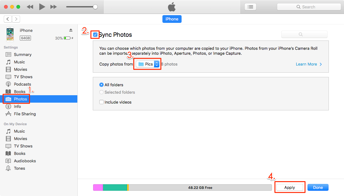 How to Download Multiple or All Photos from Dropbox to iPhone – Step 4