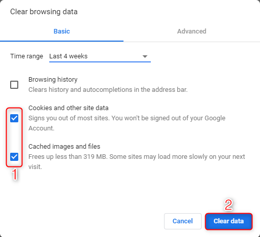 Google Drive Problems Solution 4 – Clear Cache and Cookies