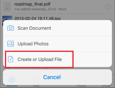 Save Documents to Dropbox from iPhone via Dropbox App - Step 2