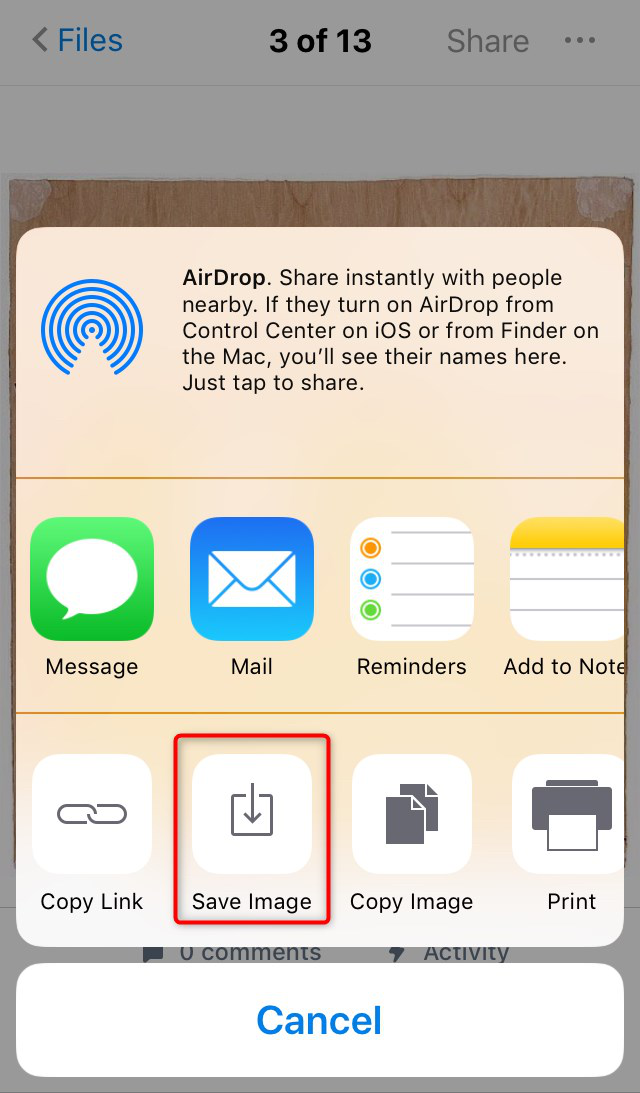 How to Save Photos from Dropbox to iPhone via Dropbox App - Step 3