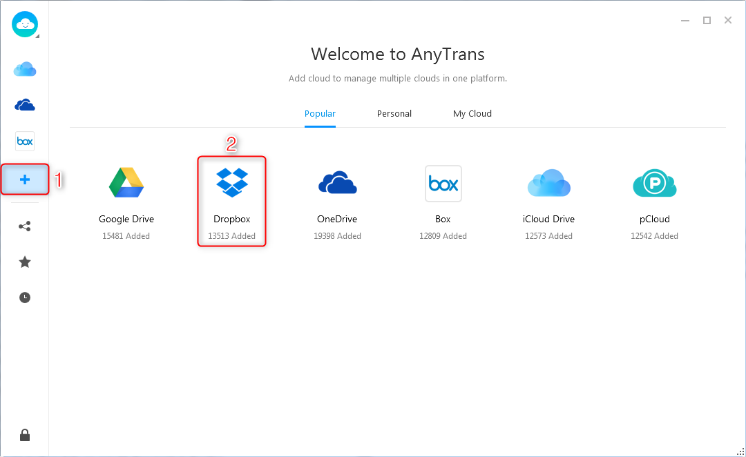 How to Save Photos from Dropbox to iPhone via AnyTrans for Cloud - Step 2
