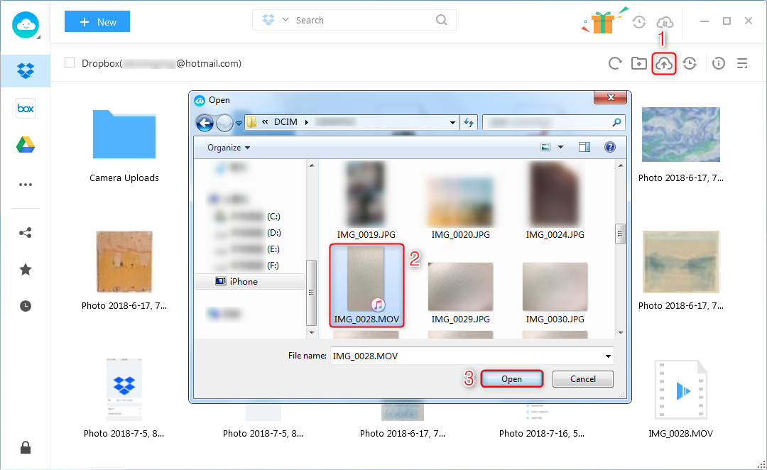 How to Upload Video to Dropbox via AnyTrans for Cloud - Step 3