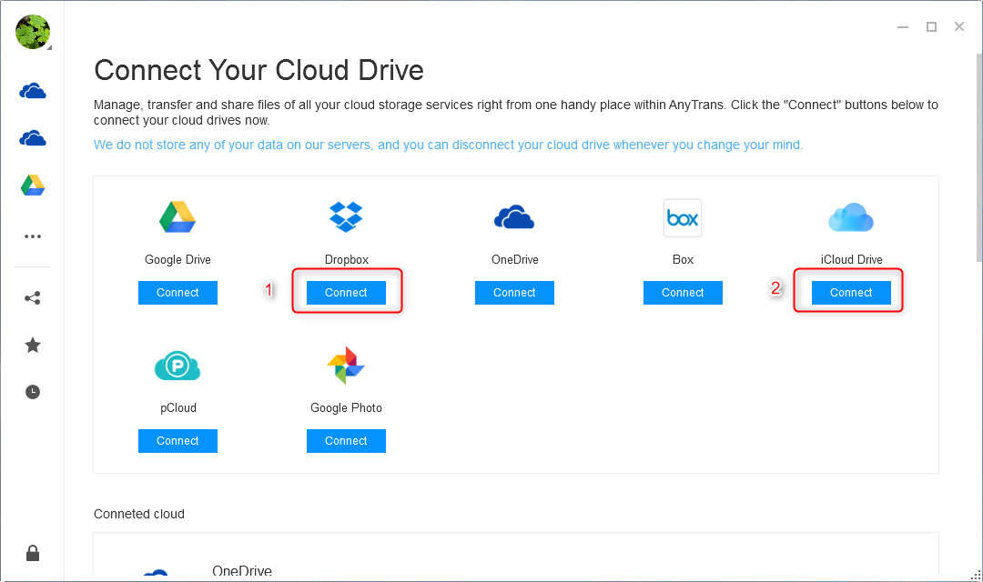 How to Transfer Data from iCloud to Dropbox - Step 2