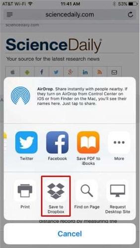 How to Save a Webpage to Dropbox via App –Step 3