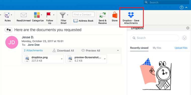 How to Save Email Documents to Dropbox – Step 6