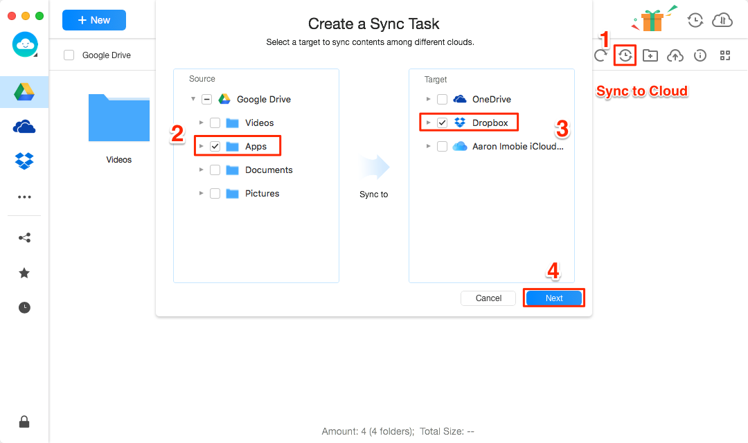 How to Sync Google Drive with Dropbox -Step 3