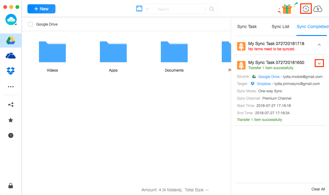How to Sync Google Drive with Dropbox -Step 5