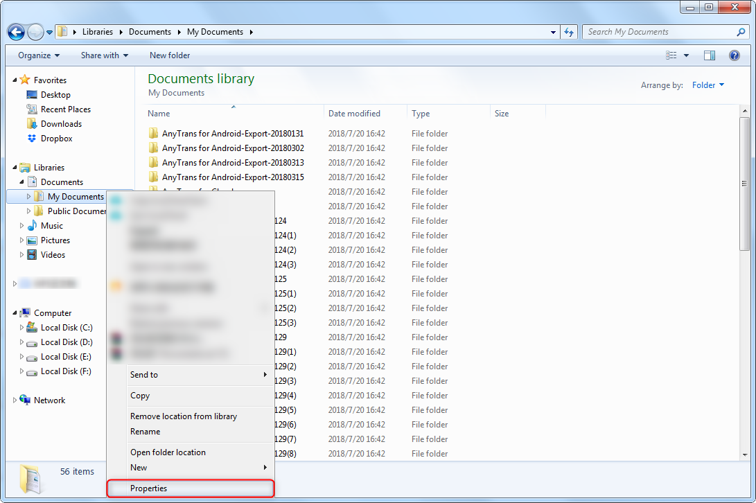 Sync My Documents to Dropbox in Properties Panel - Step 2