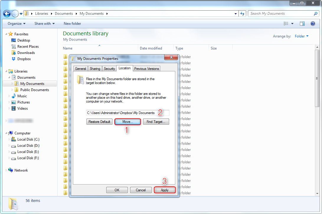 Sync My Documents to Dropbox in Properties Panel - Step 3