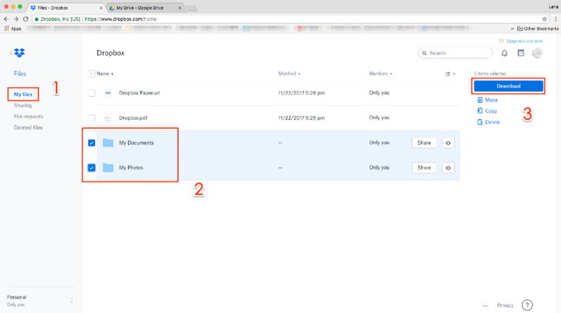 How to Transfer Files from Dropbox to Google Drive – Step 1