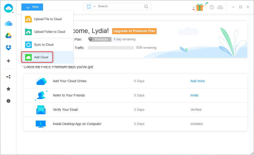 Transfer Files from Dropbox to Google Drive - Step 1