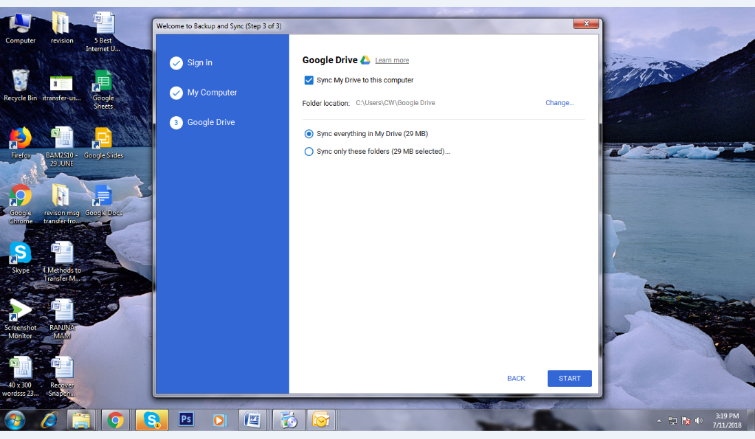 How to Transfer Files from Google Drive to laptop via Backup and Sync - Step 6
