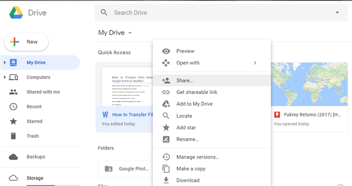 Transfer Files from One Google Drive to Another via Sharing - Step 2
