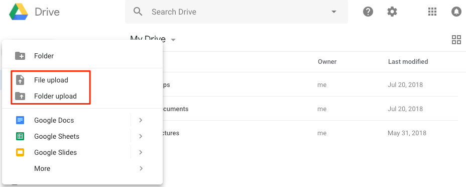 How to Transfer Files from PC to Google Drive by Uploading – Step 2