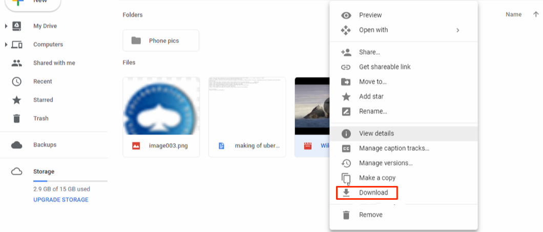 Transfer Movies from Google Drive to Computer via the Official Site – Step 3