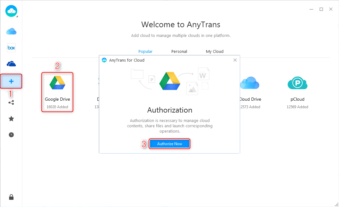 How to Transfer Photos from Laptop to Google Drive via AnyTrans for Cloud – Step 2