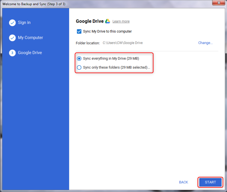 How to Transfer Pictures from Google Drive to PC via Backup and Sync - Step 2