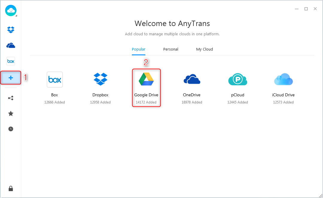 How to Transfer Pictures from Google Drive to PC via AnyTrans for Cloud - Step 2