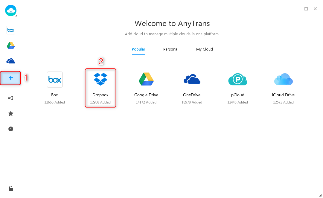 How to Upload Files to Dropbox via AnyTrans for Cloud - Step 2