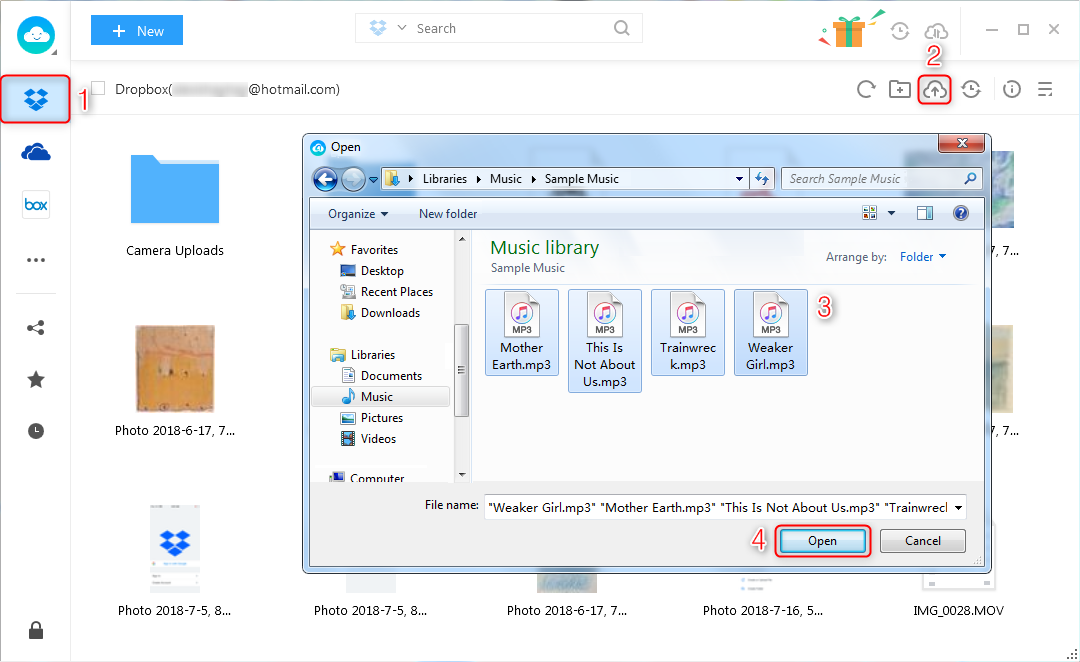 How to Upload Files to Dropbox via AnyTrans for Cloud - Step 3