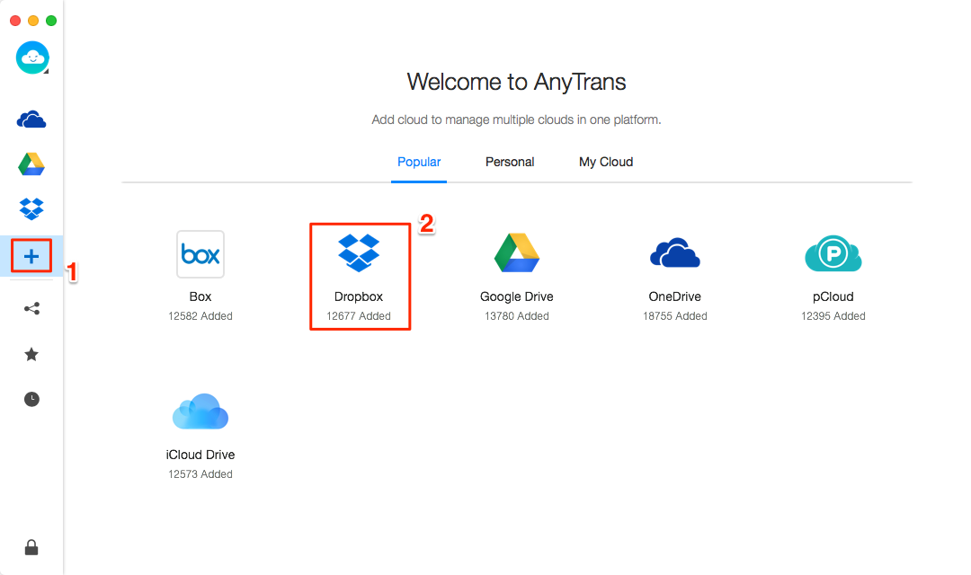 How to Upload Videos to Dropbox with AnyTrans for Cloud - Step 2
