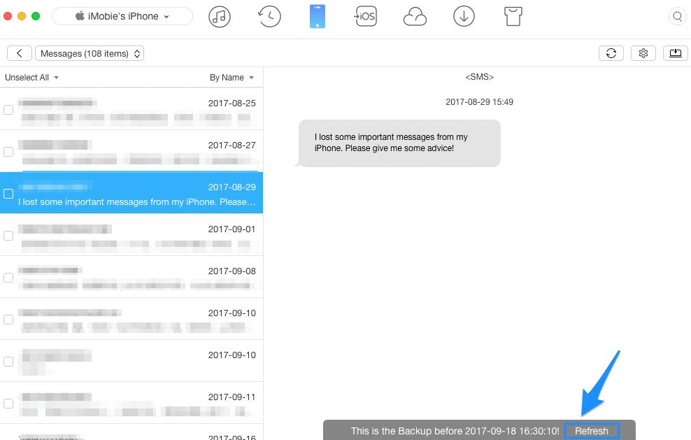 Backup messages