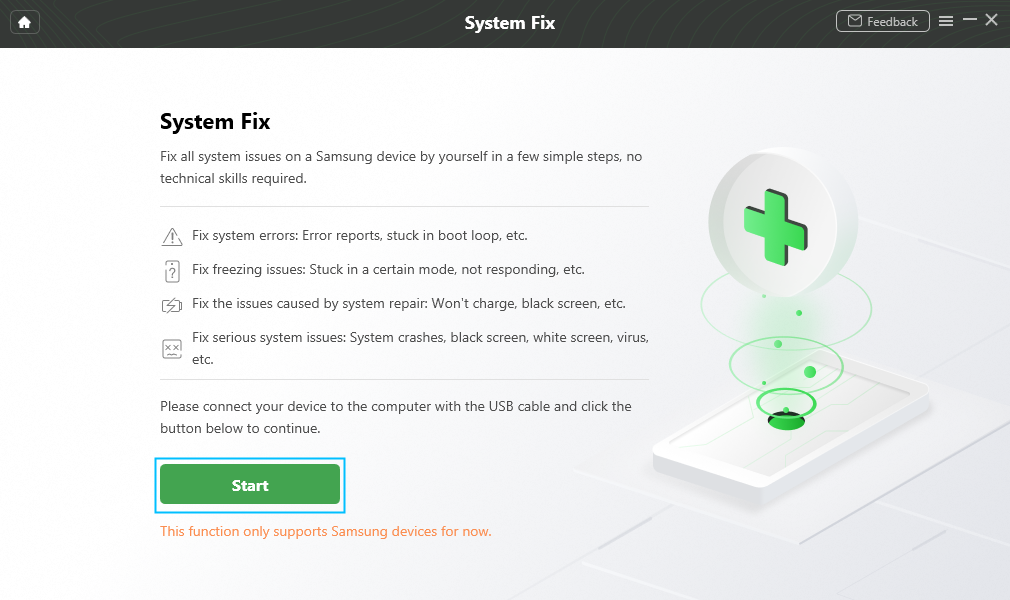 """Click """"Start"""" Button to Fix System Issues"""