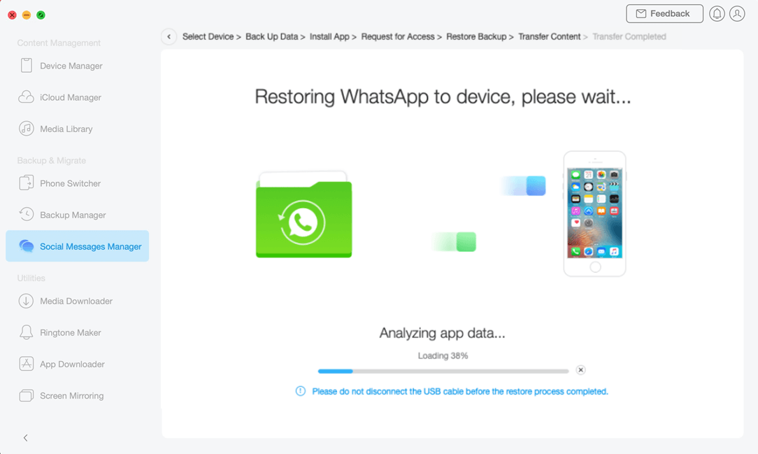 Restoring WhatsApp to iOS Device