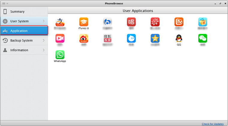 The display of applications