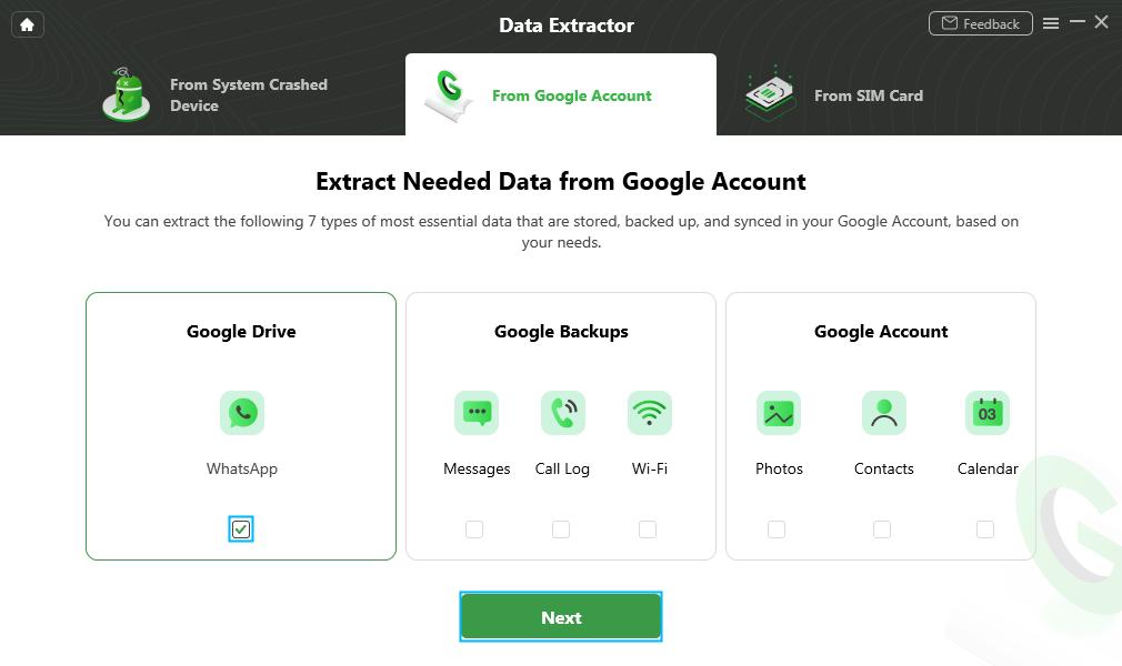 Select Google Drive Option