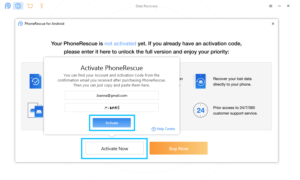 Enter Your Email Account and Activation Code of PhoneRescue for Android