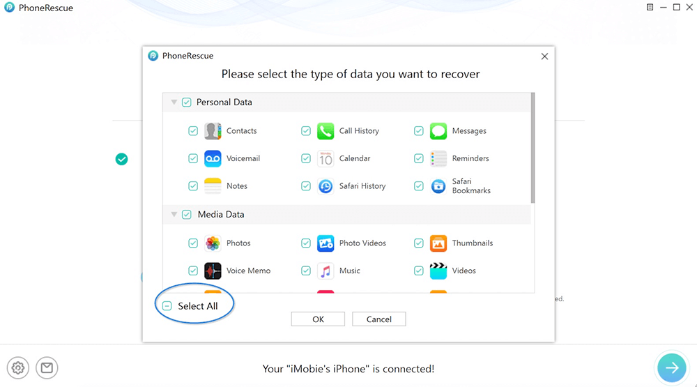 Select the Type of Data of PhoneRescue