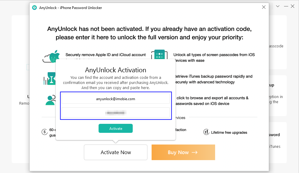Enter your Account and Activation Code of AnyUnlock