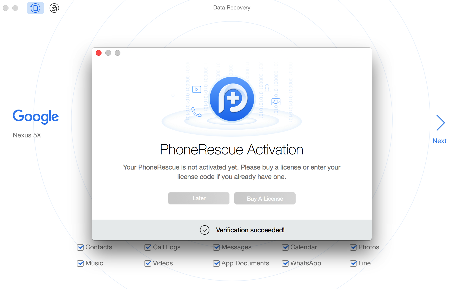 Succeed in Registering PhoneRescue for Google