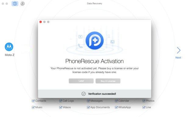 Succeed in Registering PhoneRescue for MOTOROLA
