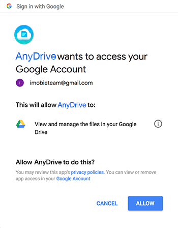 Signing in Your Google Drive Account