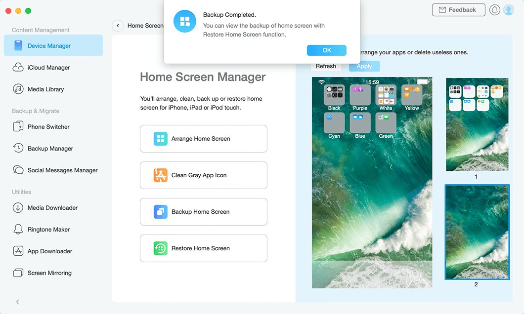 Backup Completed in Backup Home Screen