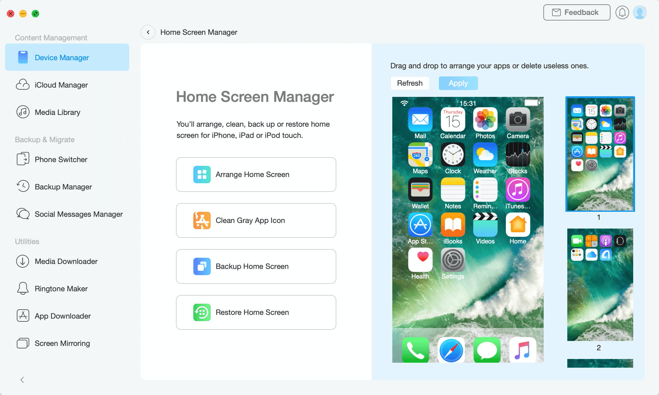 Accessing Home Screen Manager