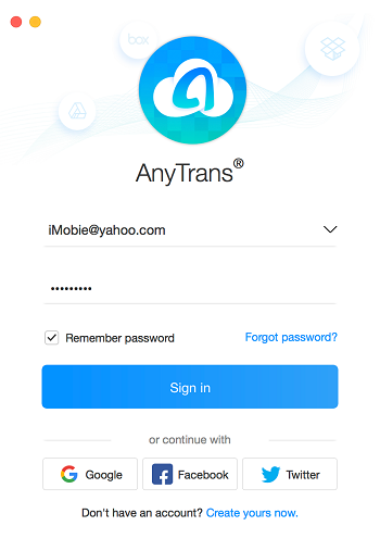 Sign-in Page in One-way Backup Sync