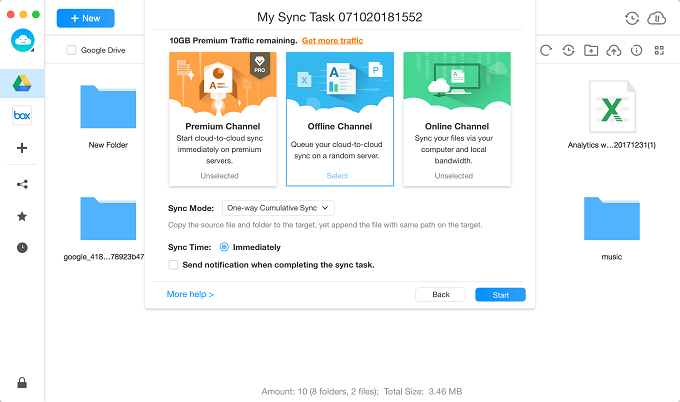 One-way Cumulative Sync Settings