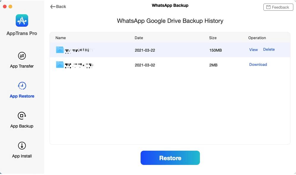 Select WhatsApp Google Backup