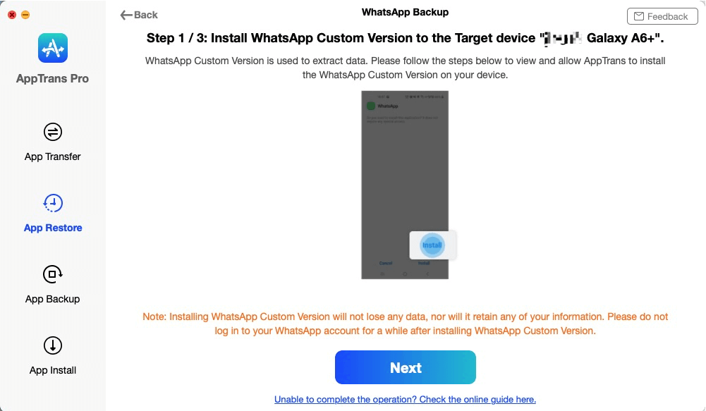 Install WhatsApp Custom Version to the Target Device