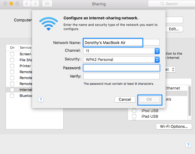 How to Enable Wi-Fi Hotspot Option on Mac - Step 3