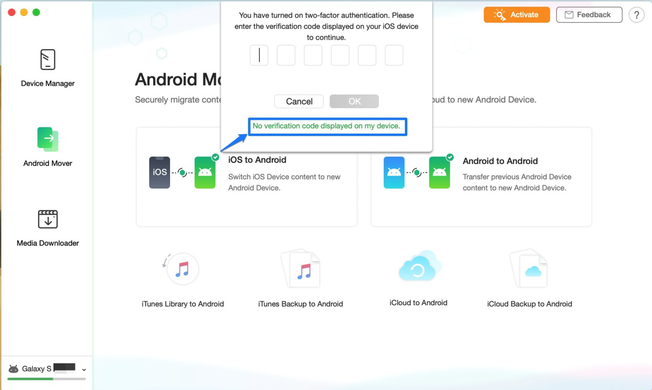 how to get a verification code and sign in with two-factor authentication on anydroid-5