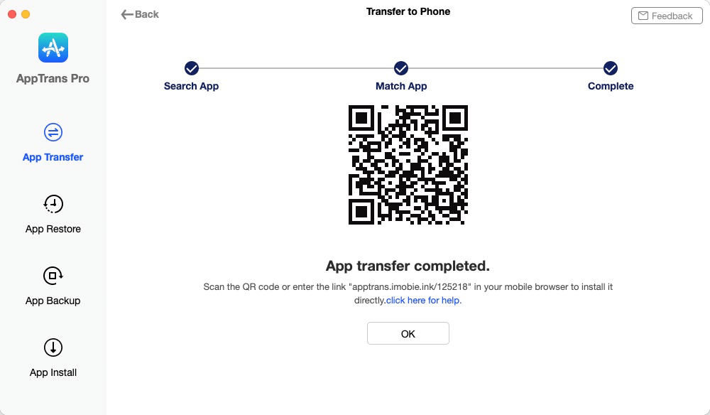 App Transfer Completed