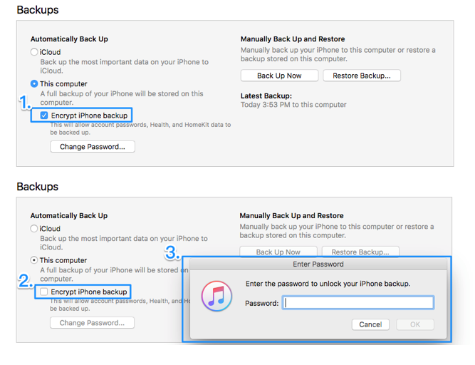 How to Remove Encrypted iPhone Backup Option in iTunes- Step 3